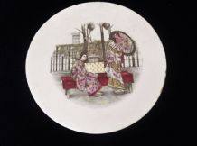 "ANTIQUE TILE COASTER MAX DANNHORN NUREMBERG 2 H 15x JAPANESE LADIES 6"" DIA"